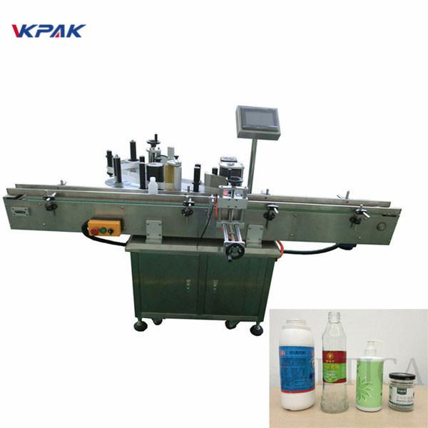 Isekleepuvate kahepoolsete ümmarguste pudelite automaatse purkide sildistamise masin